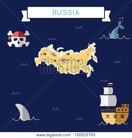 Flat Treasure Map Of Russian Federation. Colorful Cartoon With Icons Of Ship, Jolly Roger, Treasure