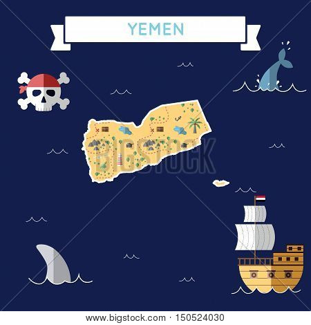 Flat Treasure Map Of Yemen. Colorful Cartoon With Icons Of Ship, Jolly Roger, Treasure Chest And Ban