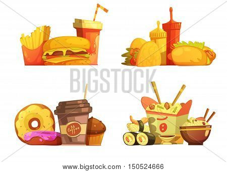 Fast food restaurant meals menu 4 samples square composition with taco and sushi cartoon retro isolated vector illustration