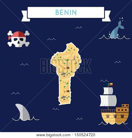Flat Treasure Map Of Benin. Colorful Cartoon With Icons Of Ship, Jolly Roger, Treasure Chest And Ban