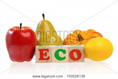 Eco word formed by colorful wooden alphabet blocks with artificial fruit, isolated on white background