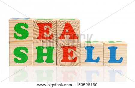 Sea shell words formed by colorful wooden alphabet blocks, isolated on white background