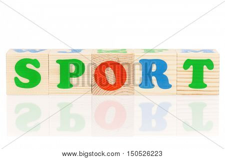 Sport word formed by colorful wooden alphabet blocks, isolated on white background