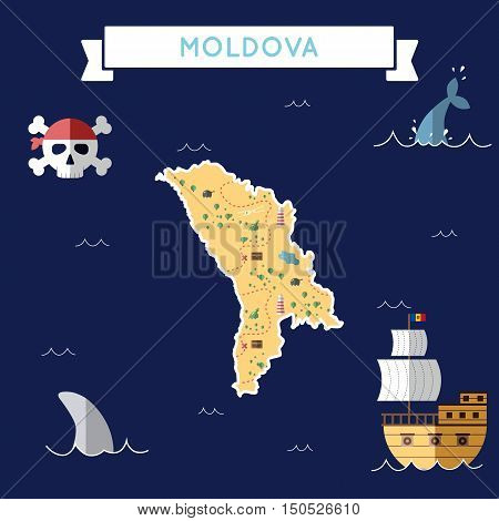 Flat Treasure Map Of Moldova, Republic Of. Colorful Cartoon With Icons Of Ship, Jolly Roger, Treasur