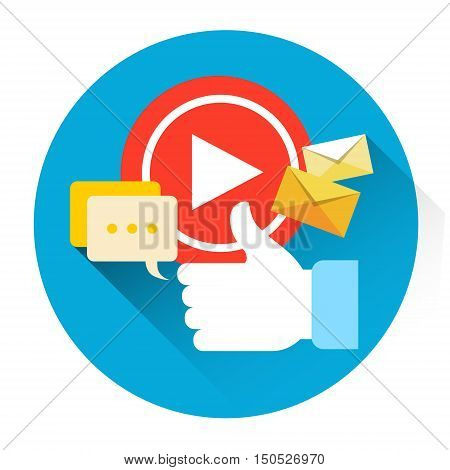 Video Player Icon Like Comments Social Network Communication Flat Vector Illustration