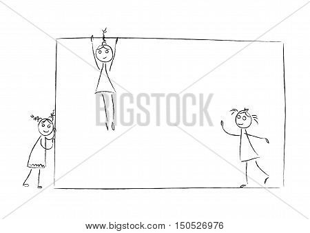 Kids girl and banner empty frame balloon sketch doodle vector black and white illustration. Drawing. Children with blank sign board for text. Design element for kids menu. Back to school.