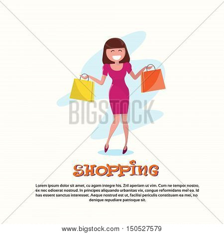 Shopping Happy Smiling Woman with Bags Walking Flat Vector Illustration