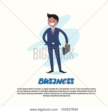 Businessman Smile Hold Briefcase Full Length Cartoon Character Flat Vector Illustration