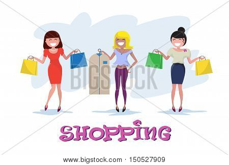 Shopping Happy Smiling Woman Group with Bags Clothes Case Walking Flat Vector Illustration