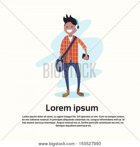 Teenager Casual Young Boy Cartoon Character Full Length Wear Headphones Listen To Music Flat Vector Illustration