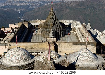 Jain temple complex on the holy Girnar hill near the Junagadh city in Gujarat. India