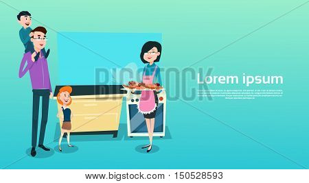 Family Happy In Kitchen Mother Holding Tray With Cakes Biscuits Flat Vector Illustration