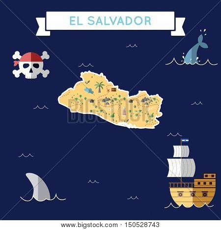 Flat Treasure Map Of El Salvador. Colorful Cartoon With Icons Of Ship, Jolly Roger, Treasure Chest A