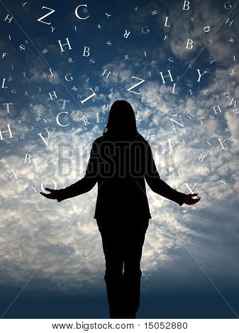 Woman Silhouette In A Letter Rain