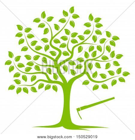 vector tree and hoe isolated on white background