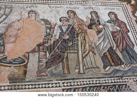 PAPHOS, CYPRUS - MARCH 16, 2016: Fragment of ancient mosaic in Kato Pafos Archaeological Park. In 1980 Nea Pafos and Palaipafos were inscribed on the World Heritage List of UNESCO