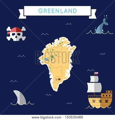 Flat Treasure Map Of Greenland. Colorful Cartoon With Icons Of Ship, Jolly Roger, Treasure Chest And