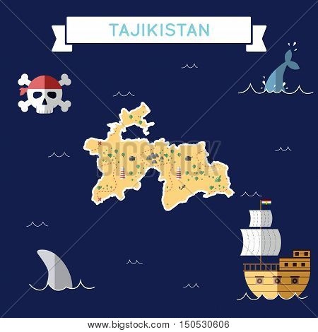 Flat Treasure Map Of Tajikistan. Colorful Cartoon With Icons Of Ship, Jolly Roger, Treasure Chest An