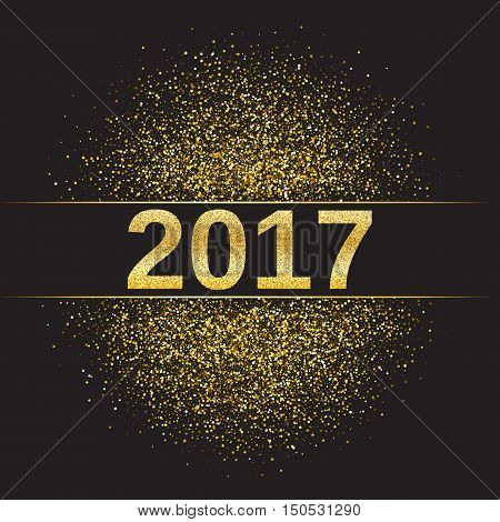 Gold glitter Happy New Year 2017 background. Glittering texture. Gold sparkles with frame. Design element for festive banner, card, invitation