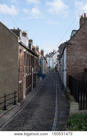 A residential street in Whitby Yorkshire UK
