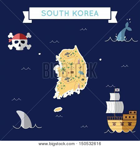Flat Treasure Map Of Korea, Republic Of. Colorful Cartoon With Icons Of Ship, Jolly Roger, Treasure