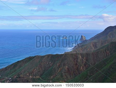 View of Rocks on coast of Benijo beach (Playa de Benijo) Tenerife island Spain