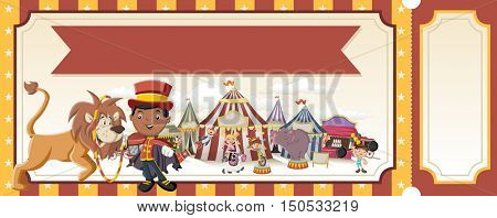 Ticket with cartoon characters in front of retro circus. Vintage carnival background with children.