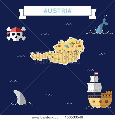 Flat Treasure Map Of Austria. Colorful Cartoon With Icons Of Ship, Jolly Roger, Treasure Chest And B