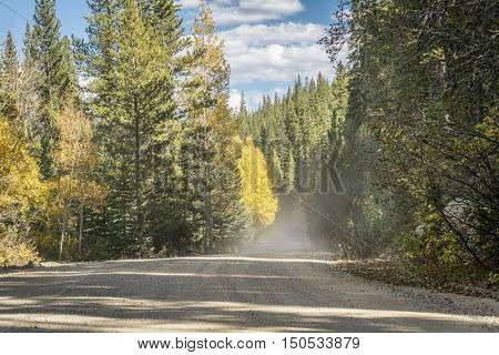 dusty road in Colorado high country - Hagerman Pass Road near Leadville