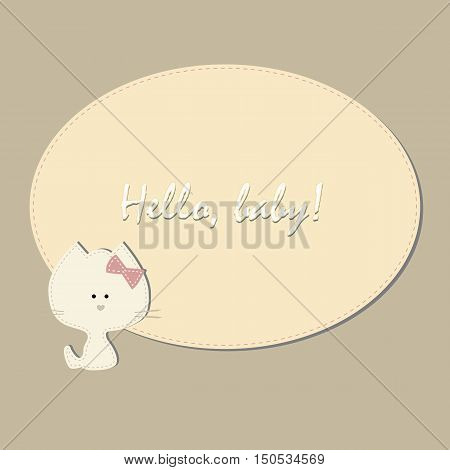cute children's oval frame with a kitten. A template for an album page or scrapbook. Baby vector illustration. Greeting card or invitation. Baby shower or arrival.