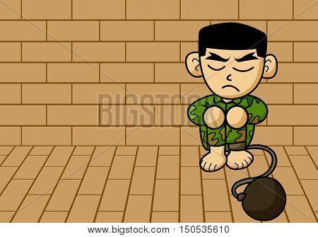 art prisoner army man cartoon on brick wall illustration