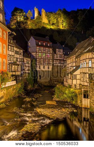 Traditional houses in the historic town centre of Monschau, Germany