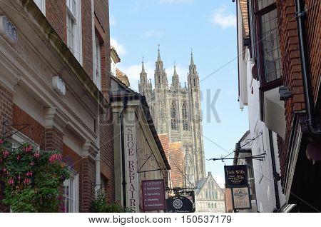 Canterbury United Kingdom - September 30 2016: Canterbury Cathedral seen through street