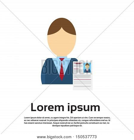 Curriculum Vitae Recruitment Candidate Job Position, CV Profile Business Person to Hire Interview Flat Vector Illustration