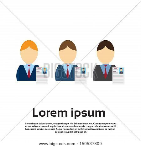 Curriculum Vitae Recruitment Candidate Job Position, CV Profile Business Person Group to Hire Flat Vector Illustration