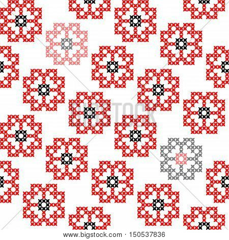 Seamless embroidered texture of abstract flat patterns, poppies, cross-stitch, ornament for cloth