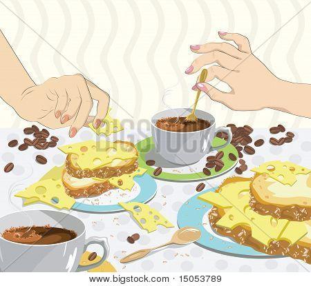 Käse-Sandwiches zum Frühstück