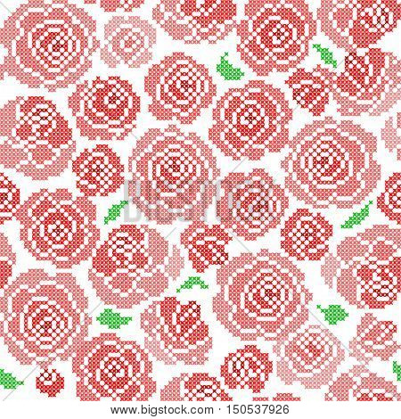 Seamless embroidered texture of abstract flat patterns, roses with leaves, cross-stitch, ornament for cloth
