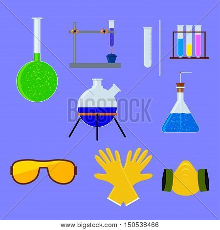Set of laboratory flasks and test tube with personal protective equipment . Chemistry objects in flat design. Vector illustration.