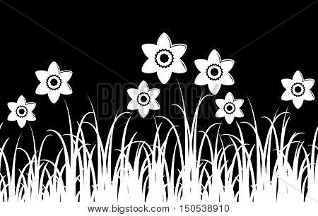 seamless vector border with daffodils in grass isolated on black background