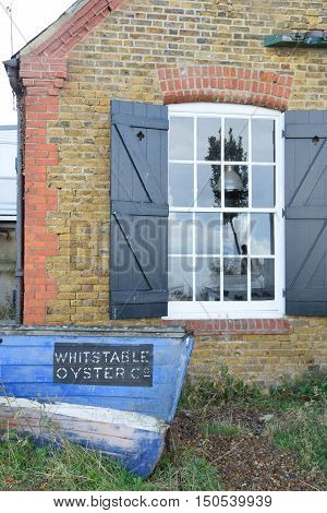 Whitstable United Kingdom -October 1 2016: Bow of Whitstable Oyser company boat