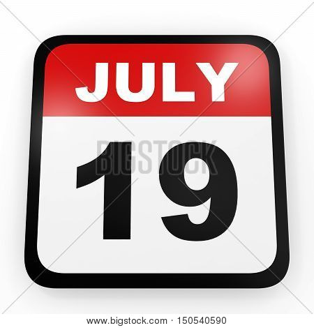 July 19. Calendar On White Background.