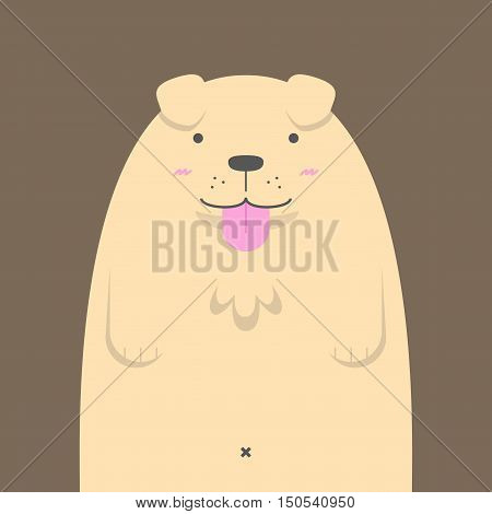 cute big fat Golden Retriever dog on brown background
