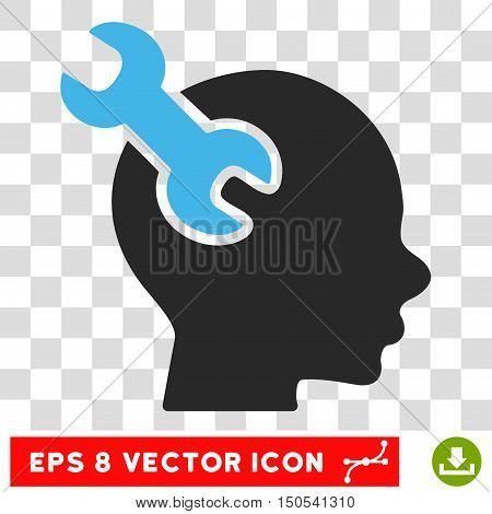 Vector Brain Service Wrench EPS vector icon. Illustration style is flat iconic bicolor blue and gray symbol on a transparent background.
