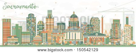 Abstract Sacramento Skyline with Color Buildings. Vector Illustration. Business Travel and Tourism Concept with Modern Architecture. Image for Presentation Banner Placard and Web Site.
