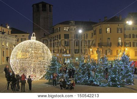 The Giant Xmas Ball Outdoor In Udine, Italy