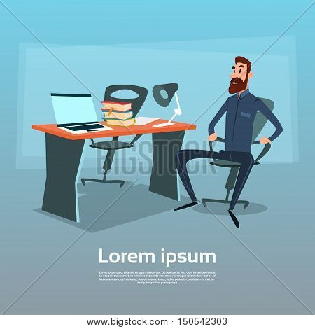 Business Man Sitting Desk Office Working Place Computer Workplace Flat Vector Illustration