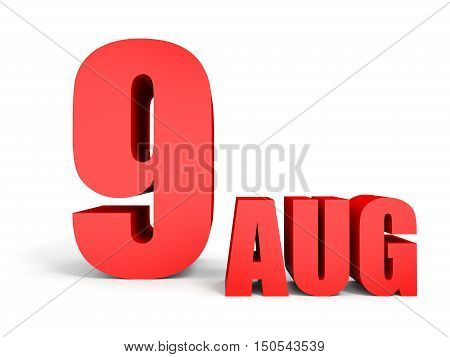 August 9. Text On White Background.