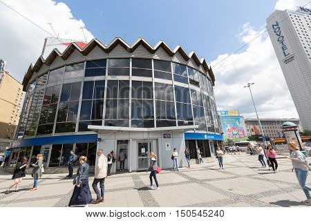 WARSAW POLAND - JUNE 11 2016: Building that is the headquarters of the branch of the bank it is a round pavilion with facade entirely made of glass