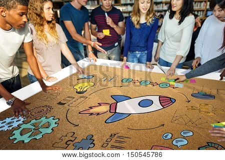 Team Brainstorming Plan Creation Strategy Concept